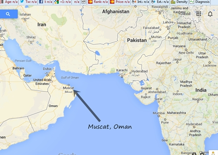 map of muscat oman for sea glass beach report