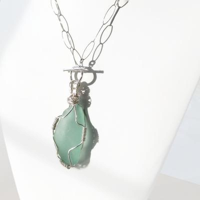Aqua Sea Glass Toggle Necklace by Van Der Muffin's Jewels