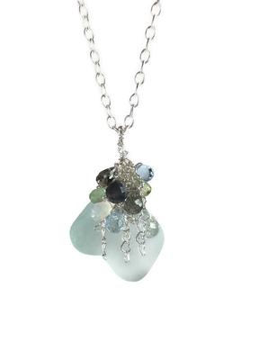 Mixed Gemstone Cluster Necklace by Van Der Muffin's Jewels