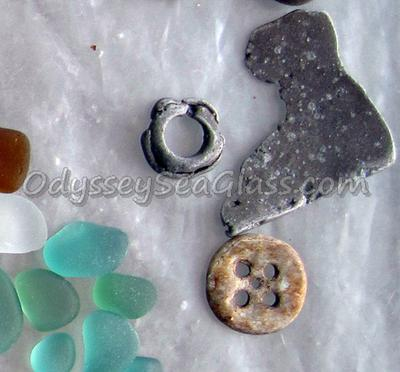 Old brownish beach button, although not sea glass, is a really nice find!