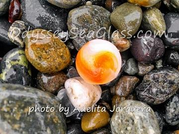 orange white beachglass marble adelita