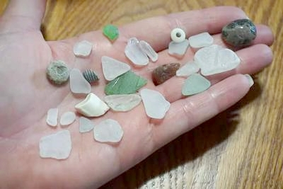 Pilgrim Haven NP beach glass with bead etc