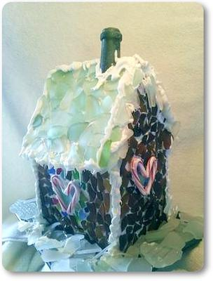 Gingerbread House wth Sea Glass
