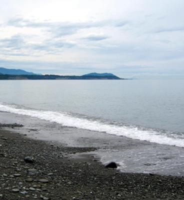 Looking west over the Strait of Juan de Fuca from Ediz Hook (sand spit)