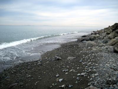 Looking northeast from northwest side of Ediz Hook (spit).