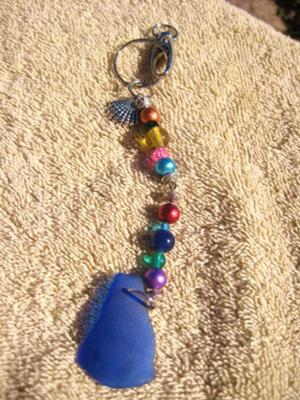 Sea Glass Key Chain - Blue