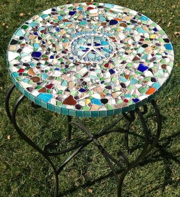 Sea Glass Mobile and Mosaic Table Top
