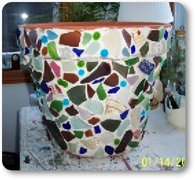 sea glass mosaic flower pot