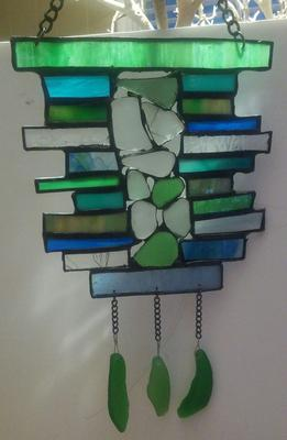 Sea Glass/Stained Glass Suncatcher