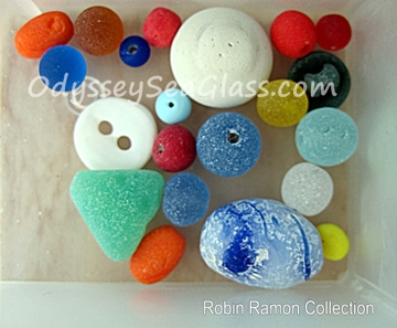Sea Glass beads and buttons - Robin Ramon Collection