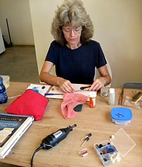 Lin at sea glass jewelry work table