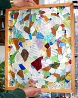small sea glass mosaic window