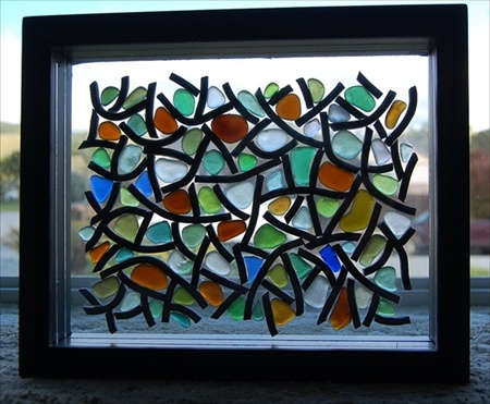 sea glass mosaic lamp