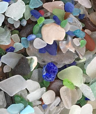 Part of our 3 day stash of beach glass at Kenosha
