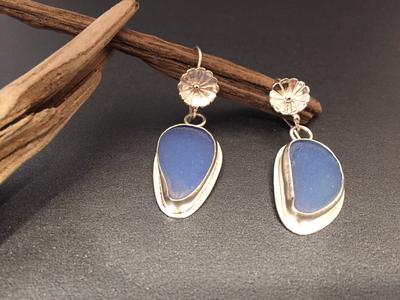 Sterling silver earrings I made with sea glass found at Smith's Point.