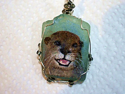 The Laughing Otter - Painting on Sea Glass