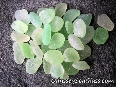 Sea glass - UV vaseline glass, also called uranium glass