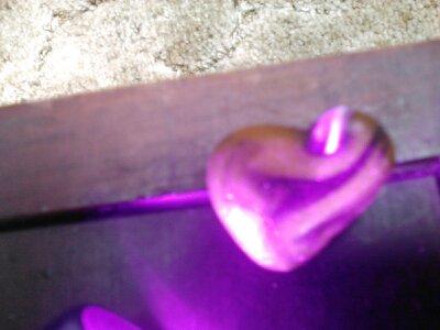 Multi-colored heart sea glass from Davenport, California