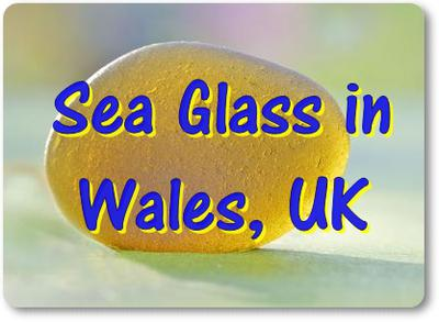 Sea Glass in Wales, UK - yellow that changes colours