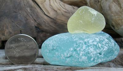 Blue and yellow sunny day sea glass