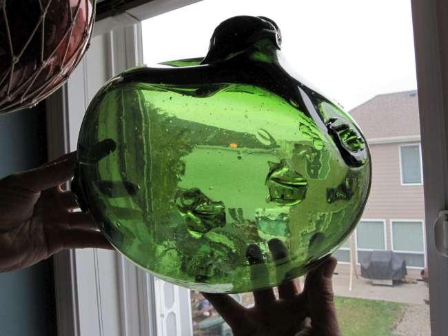 glass fishing floats green