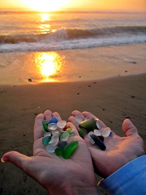 Double handful of beach glass in about 2 hours