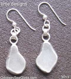 sea glass earrings White Sea Glass Earrings
