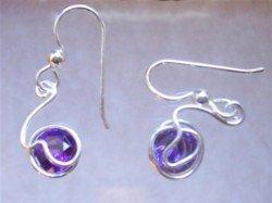 Amethyst sterling silver wire wrapped earrings