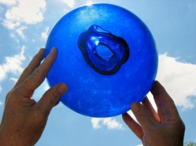 Blue volleyball size glass fishing float