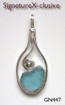 Sea glass pendant blue california