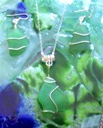 Green Antigua sea glass wire wrapped in sterling silver earrings and necklace.jpg