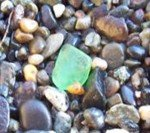 Green sea glass beads