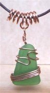 Green sea glass copper wire wrapped necklace