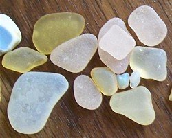 Iridescent and Pink Sea Glass
