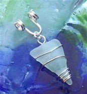 Light blue sea glass wire wrapped sterling silver pendant