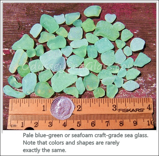 Pale blue-green or seafoam craft-grade sea glass