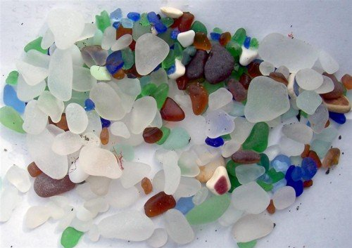 Here is the sea glass we collected in the first hour.