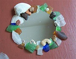 Gluing sea glass to mirror