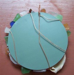 Sea Glass Mirror Back Wrap Wire