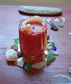 Sea Glass Mirror with candle