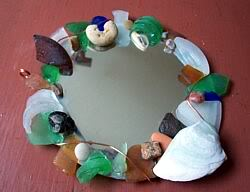 Finished sea glass wire-wrapped mirror