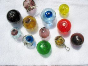 Here is a sample of some of my smaller Color Floats. All are authentic used floats beachcombed.