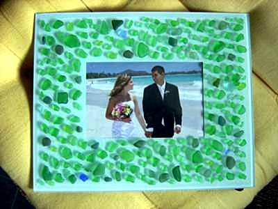 A Sea Glass Sprinkled Picture Frame