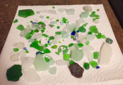 My collection from a 1 1/2 hours of sea glass picking.
