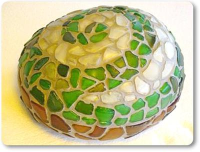 Beach Glass Spiral on Rock Mosaic