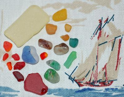 Bi-color and red, orange, yellow sea glass