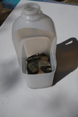 modified milk bottle for collecting sea glass