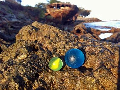 Blue & Yellow Makes Green... with Envy - Sea Glass Marbles