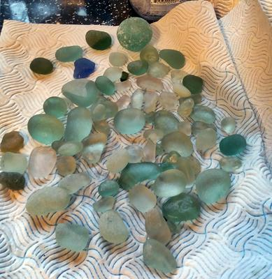 Collection of glass from Easington and Horden beaches in Co Durham