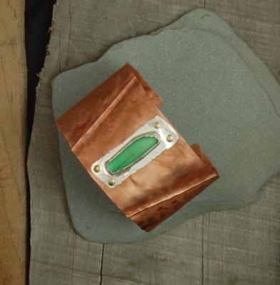 SeaGlass Copper Cuff Bracelet